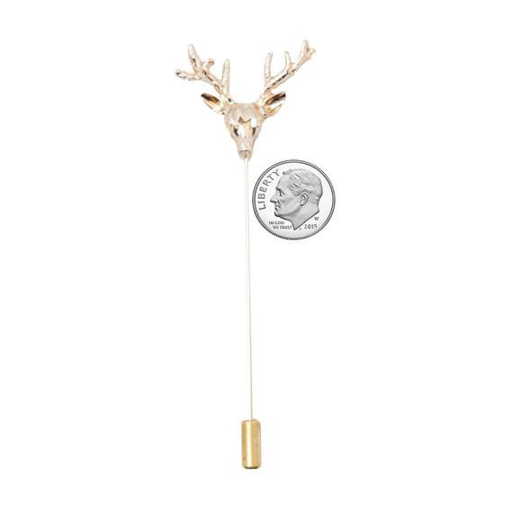 Gold Stag Head Metal Lapel Pin - The Accessorized Man