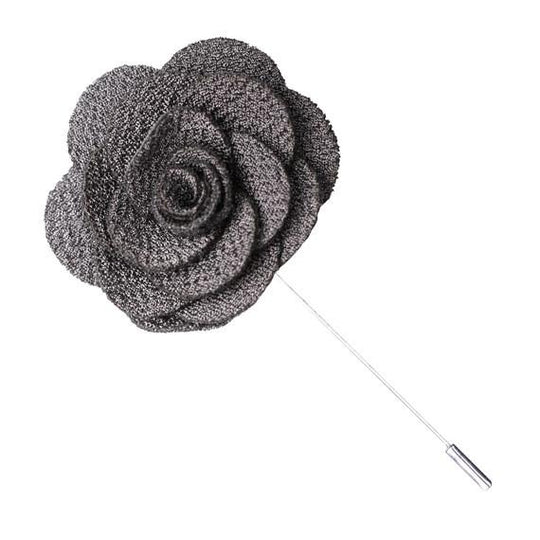 Gray Knit Microfiber Lapel Flower Pin - The Accessorized Man