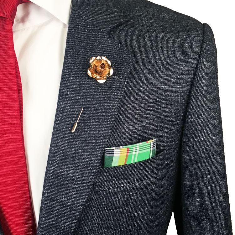 Green, Navy Blue, Yellow and Red Plaid Pocket Square - The Accessorized Man