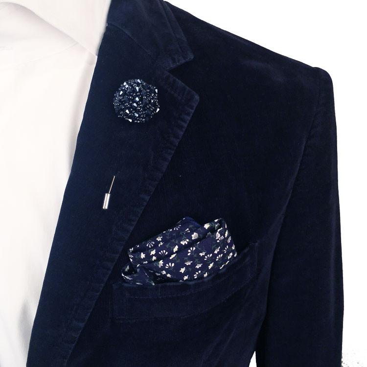 Navy Blue Bead and Metal Lapel Flower Pin - The Accessorized Man
