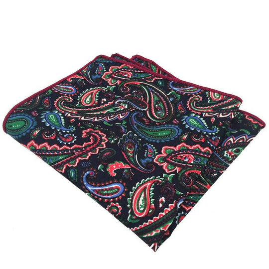 Navy Blue, Orange, Green and Maroon Paisley Print Pocket Square - The Accessorized Man