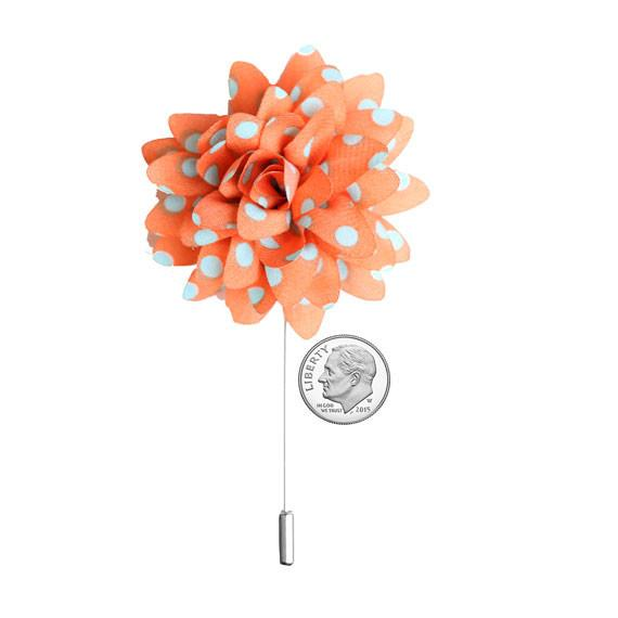 Orange and Seafoam Green Polka Dot Chiffon Lapel Flower Pin - The Accessorized Man
