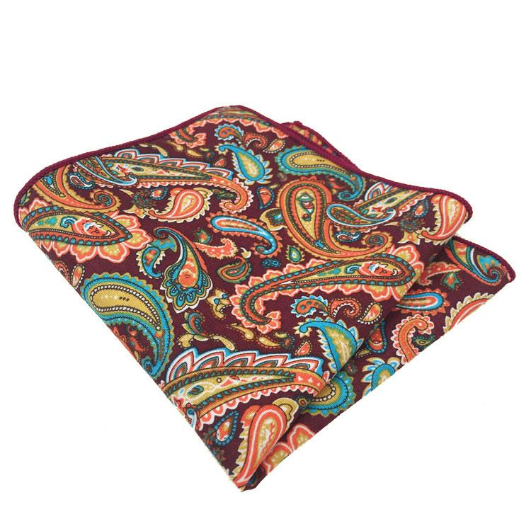 Orange, Turquoise and Maroon Paisley Print Pocket Square - The Accessorized Man