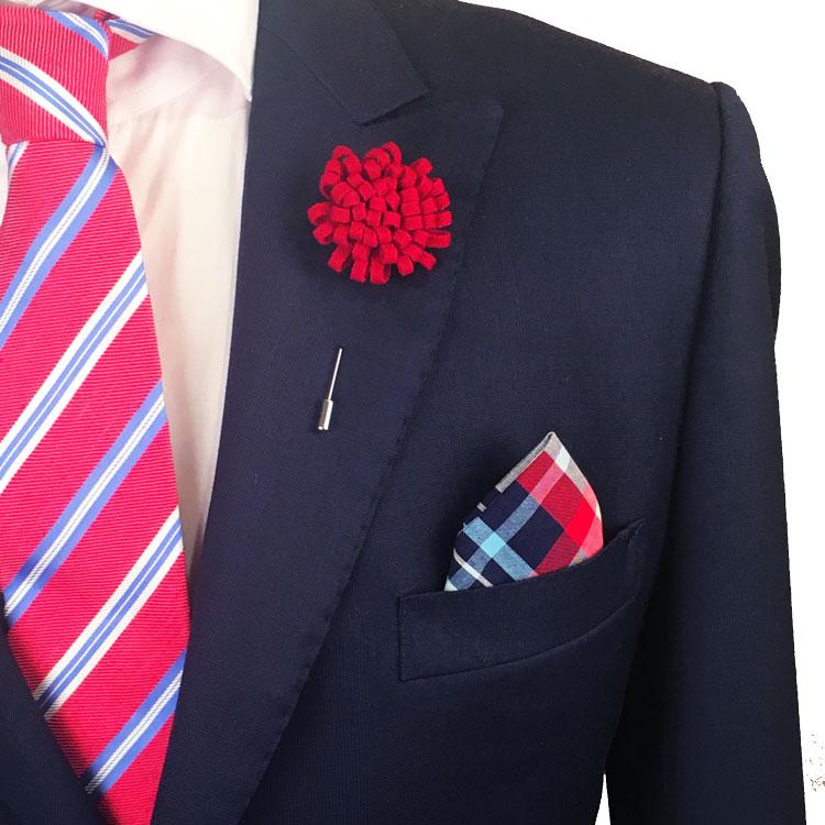Red, Navy Blue, Light Blue and White Plaid Pocket Square - The Accessorized Man