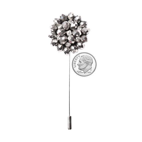 Silver Rhinestone, Bead and Metal Lapel Flower Pin - The Accessorized Man