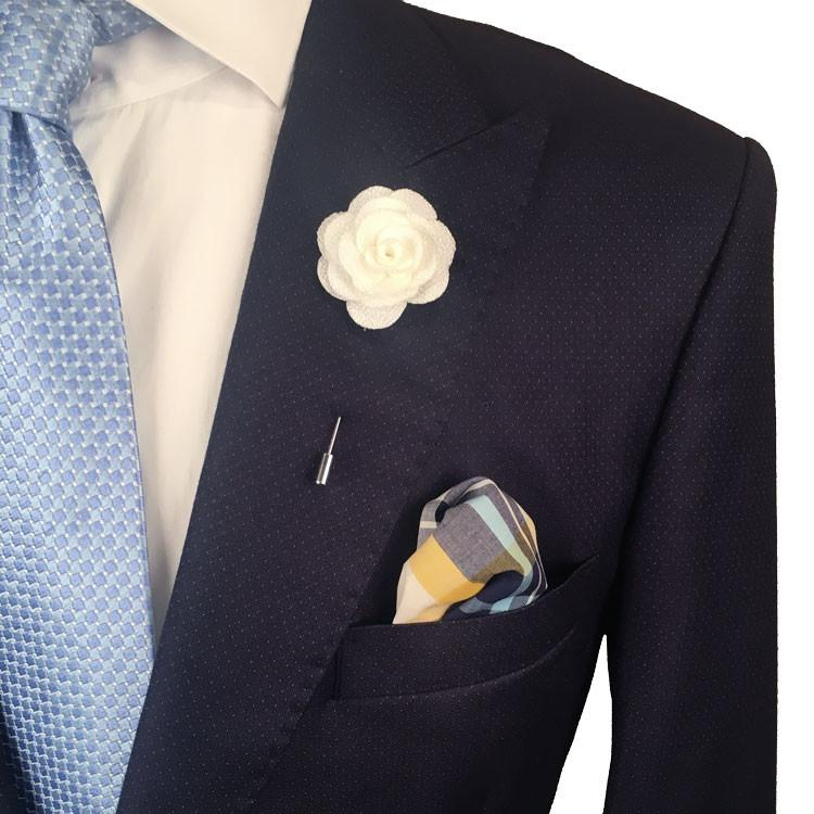 White Knit Microfiber Lapel Flower Pin - The Accessorized Man