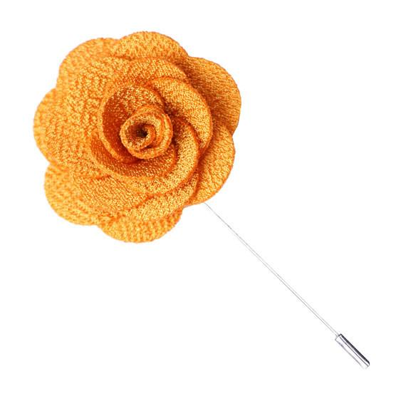 Yellow Knit Microfiber Lapel Flower Pin - The Accessorized Man