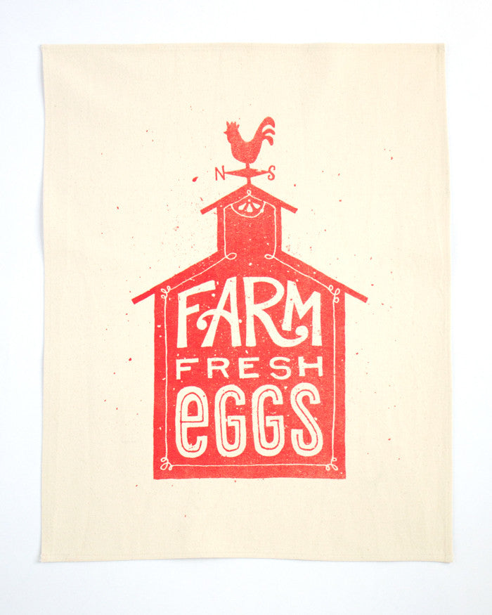 Farm Fresh Eggs & Milk Tea Towel Set