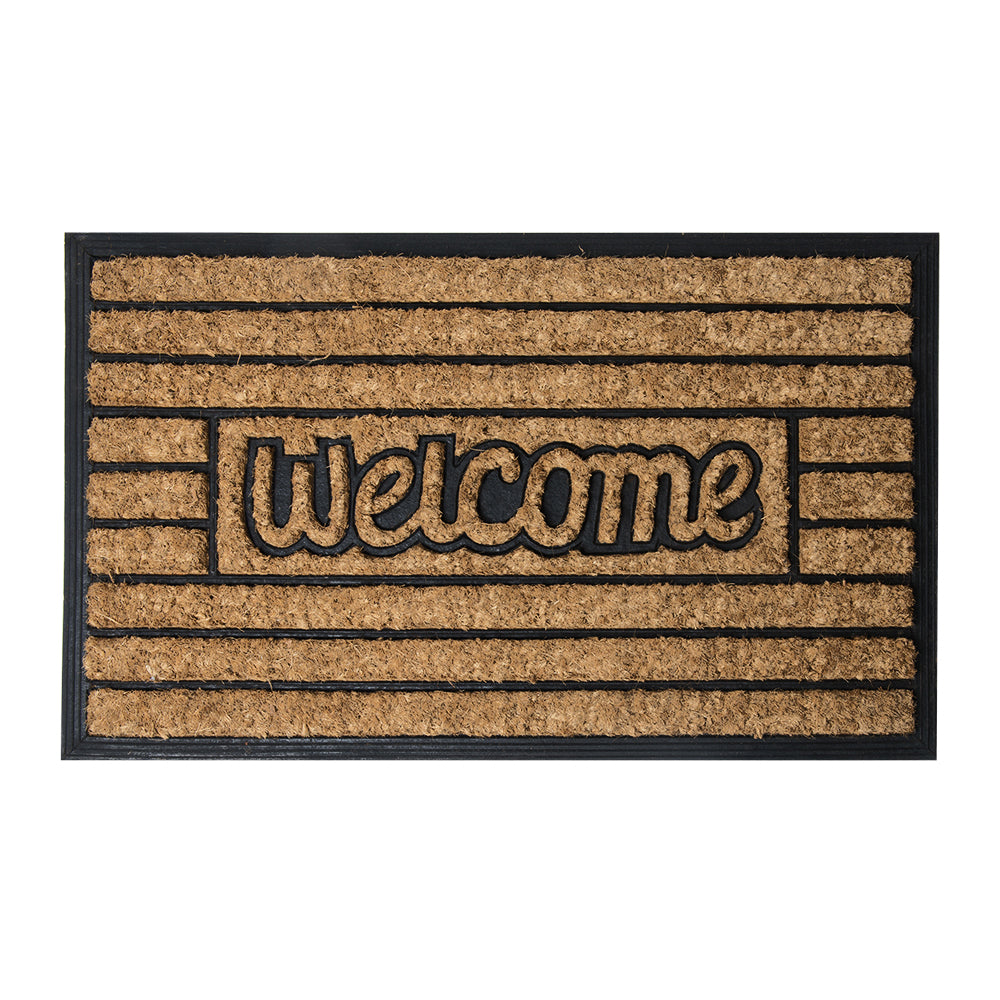 Brush Moulded Coir Mat 45x75cm Welcome + Horizontal Stripe ETA: Late September