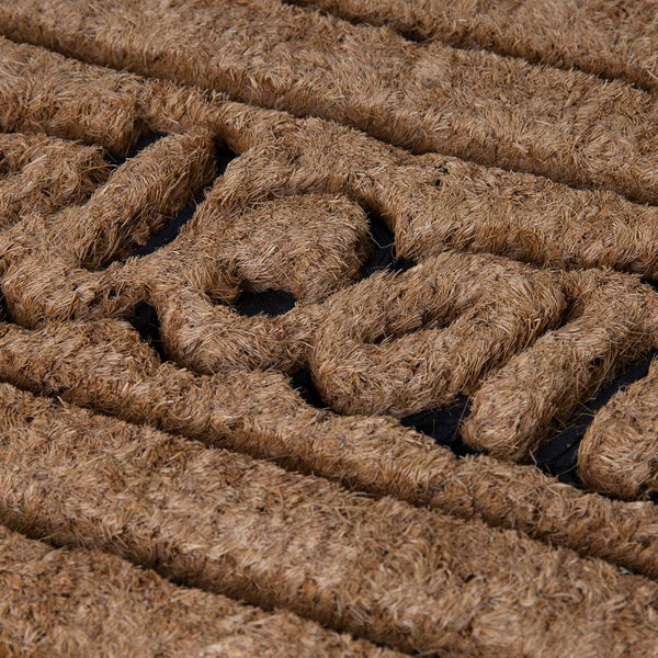 Brush Moulded Coir Mat 45x75cm Welcome + Horizontal Stripe