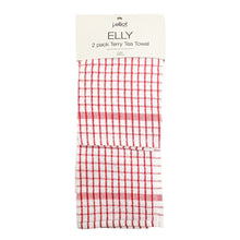Load image into Gallery viewer, Elly 2 Pack Tea Towels 45x65cm Red ETA: Mid October
