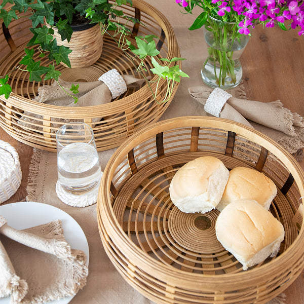 Elsie Set of 2 Bamboo Trays