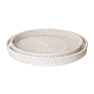 Pacifica Rattan Set of 2 Trays Whitewash