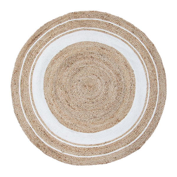 Harrison Rug 120cm Round White/Natural;  ETA Mid December