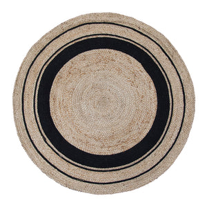 Harrison Rug 120cm Round Black & Natural