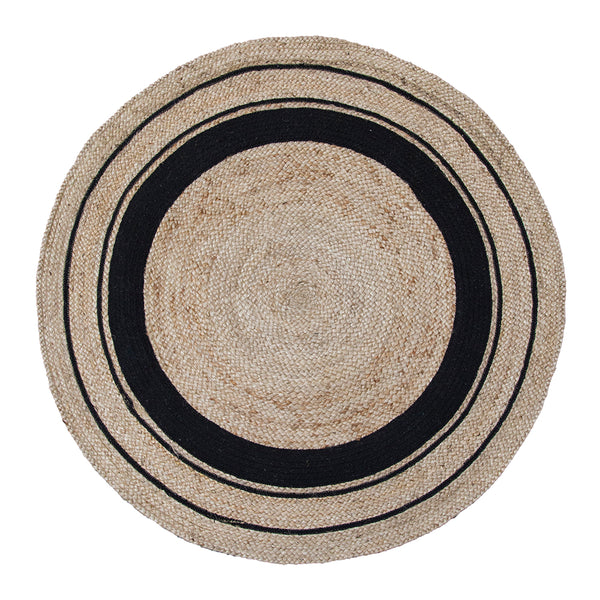 Harrison Rug 120cm Round Black/Natural ETA: Mid October