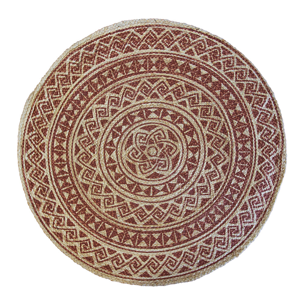 Kendra Printed Rug 120cm Round Burnt Orange/ Natural