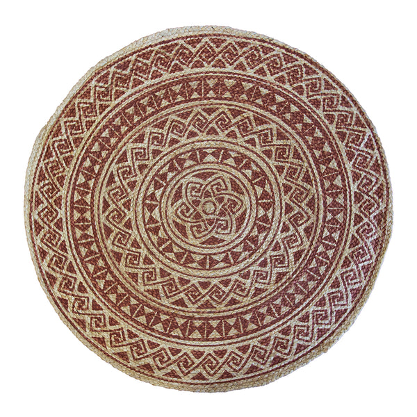 Kendra Printed Rug 120cm Round Burnt Orange/ Natural; ETA Mid November