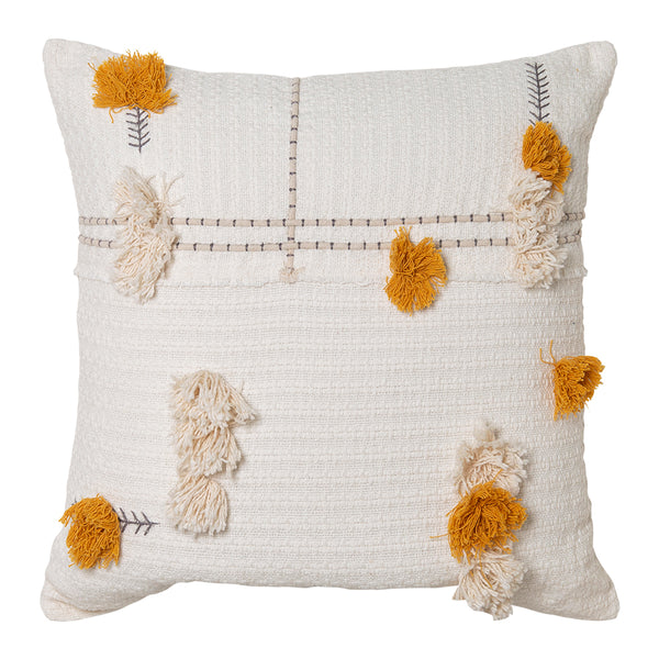 Josie Cushion 50x50cm Ivory/Mustard; ETA Late November
