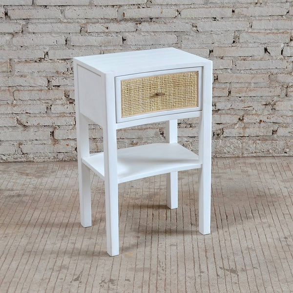 Bayview Bedside Table 40x30x65cm White & Natural