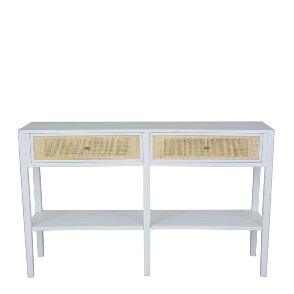 Bayview Console Table 130x35x80cm White & Natural