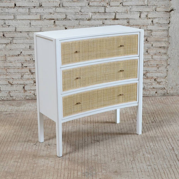 Bayview Chest of 3 Drawers 80x35x90cm White & Natural