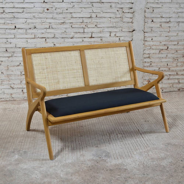 Zadie 2 Seater Bench Seat 130x79x88cm Black & Natural