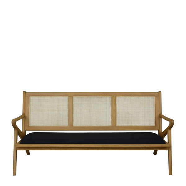 Zadie 3 Seater Bench Seat 180x79x88cm Black & Natural