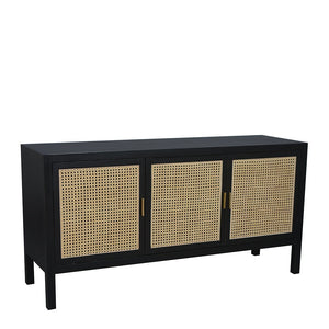 Sanderson 3 Door Sideboard 150x45x76cm Black & Natural; ETA March