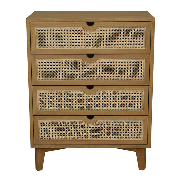 Seabrook Rattan Chest of 4 Drawers 70x40x90cm Natural