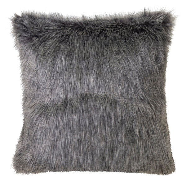 Grey Wolf Faux Fur Cushion 50x50cm Steel Grey