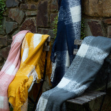 Load image into Gallery viewer, Wren Faux Mohair Throw 130x160cm Mustard & White; ETA March