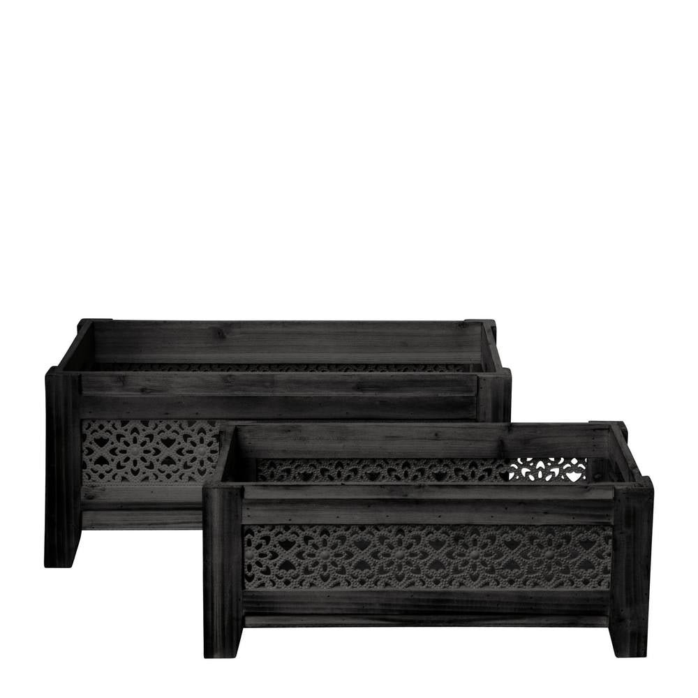 Sienna Set of 2 Planters 53x28x23cm & 45x24x18cm Black; ETA Mid May