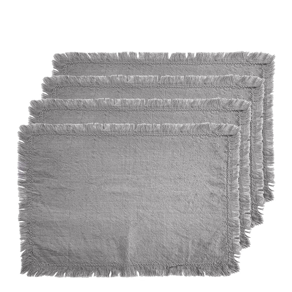 Avani Set of 4 Placemats 33x48cm Grey