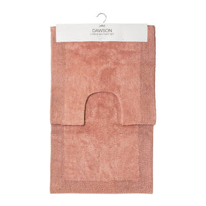 Dawson 2 Piece Bathmat Set 50x50cm & 50x80cm Clay Pink