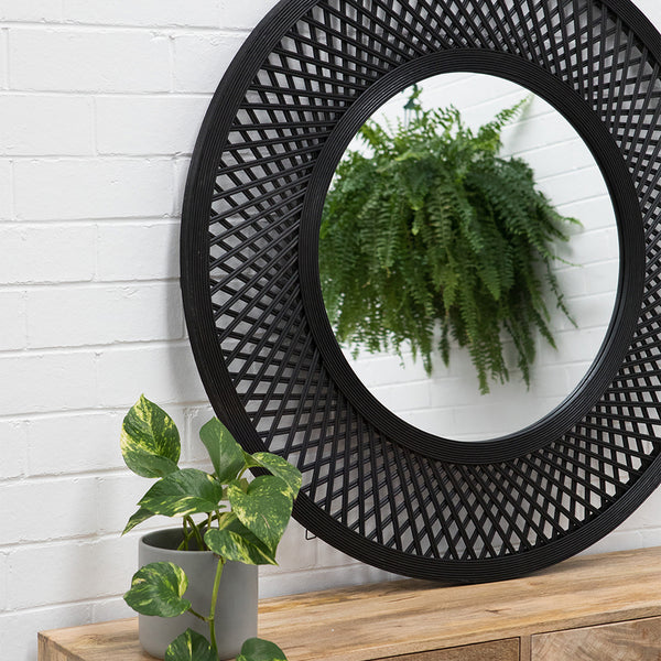 Duke Bamboo Mirror 96.5x2.5x96.5cm Black;  ETA Mid December