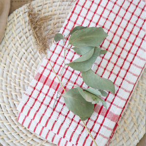 Elly 2 Pack Tea Towels 45x65cm Red ETA: Mid October