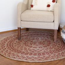 Load image into Gallery viewer, Kendra Printed Rug 120cm Round Burnt Orange/ Natural