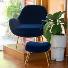 Load image into Gallery viewer, Laura Occasional Chair & Footstool Set Navy