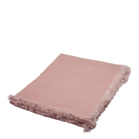 Mercer Linen Throw with fringes 125x150cm Blush