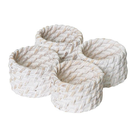 Pacifica Rattan Napkin Ring Set of 4 White Wash (ARRIVING SOON)