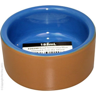 Pet One bowl terracotta blue glazed