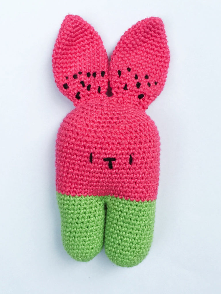 Watermelon Bunny Toy Softie With Rattle - Made To Order - Handmade ...