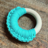 Handmade Organic Wood & Cotton Teething Ring - Single Ring
