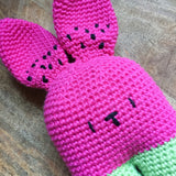 Watermelon Bunny Toy Softie With Rattle - Made To Order - Handmade Crochet Amigurumi