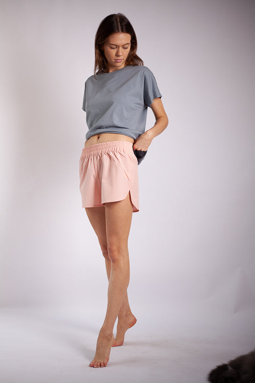 Lori Lounge Shorts - Apricot Fine Cotton