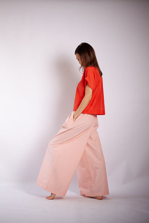 Josi Tee - Coral Silk Cotton Voile