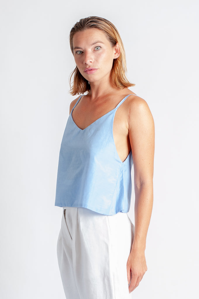 Tiqua Crop Cami - Ice Blue Silk Cotton Voile