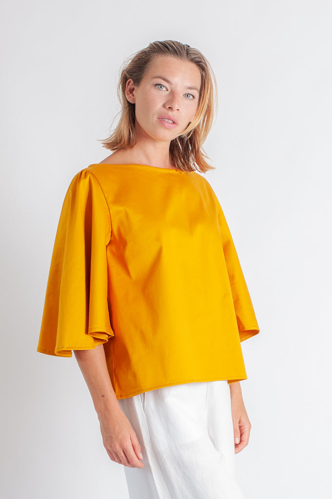 Eden Top - Gold Cotton Stretch Sateen