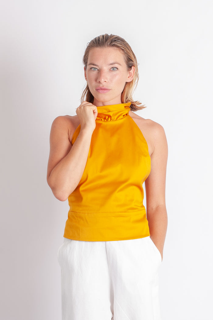 Lola Top - Gold Stretch Cotton Sateen